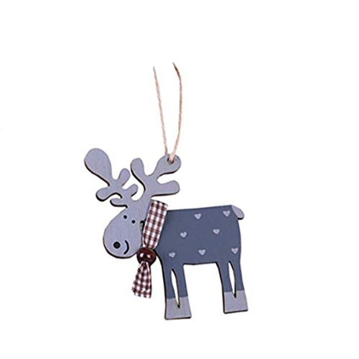 Wooden Reindeer Ornament Material:Wooden Size:High 10CM Wide 9CM, Lanyard 10CM