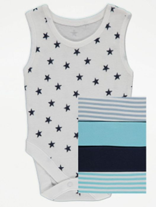 Blue Sleeveless Bodysuit 5pack