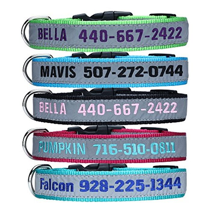 DEAL STACK - Personalised Reflective Dog Collars with Pet Name & Phone Number