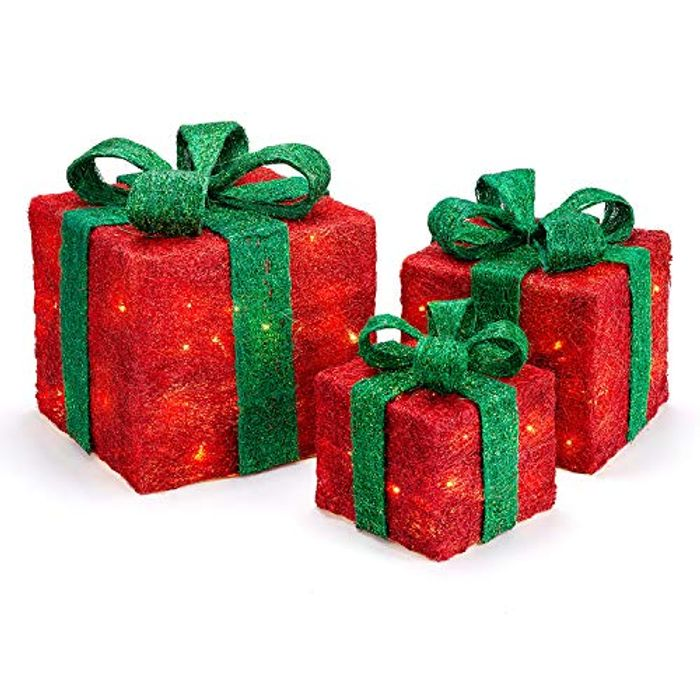 Light up Christmas Parcels Battery Powered LED Glitter Sisal Set of 3