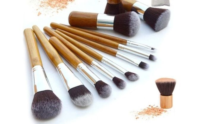 One, Two or Three Ten-Piece Makeup Bamboo Brush Sets
