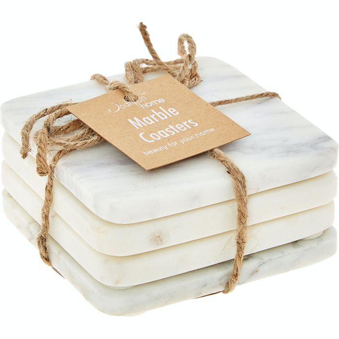 Four Pack White Marble Coasters 10x10cm £7.99