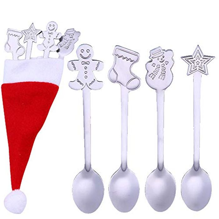 4PCS Christmas Themed Spoons & Cutlery Cover
