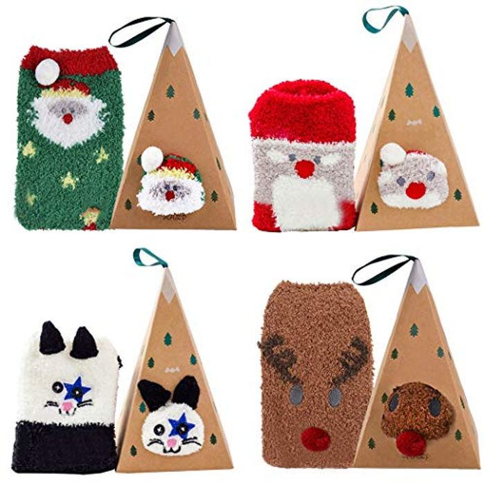 4 Pairs Fluffy Christmas Socks  & 4 Gift Boxes (35% Voucher)
