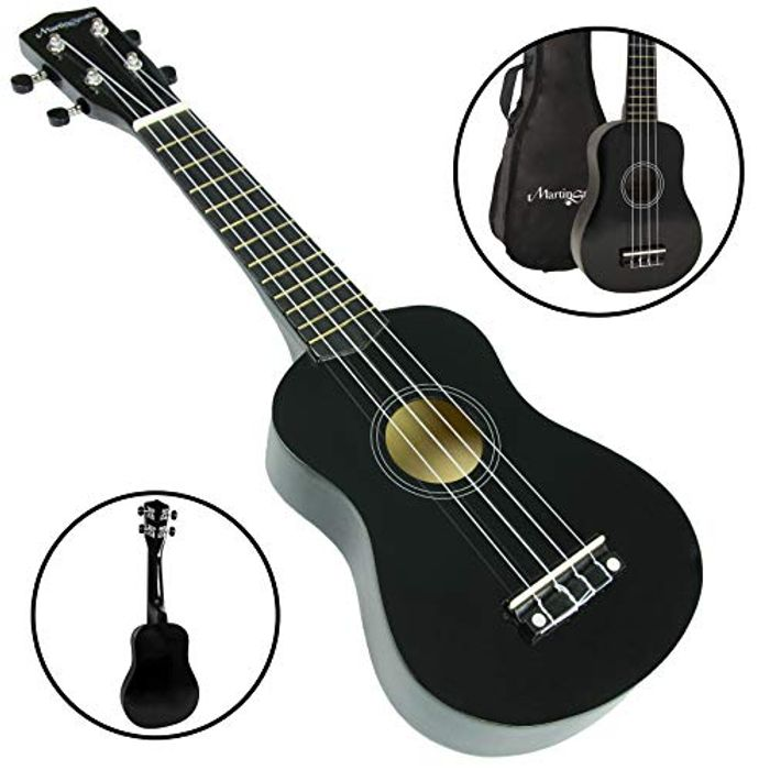 Martin Smith Soprano Ukulele with Ukulele Bag and Black Design
