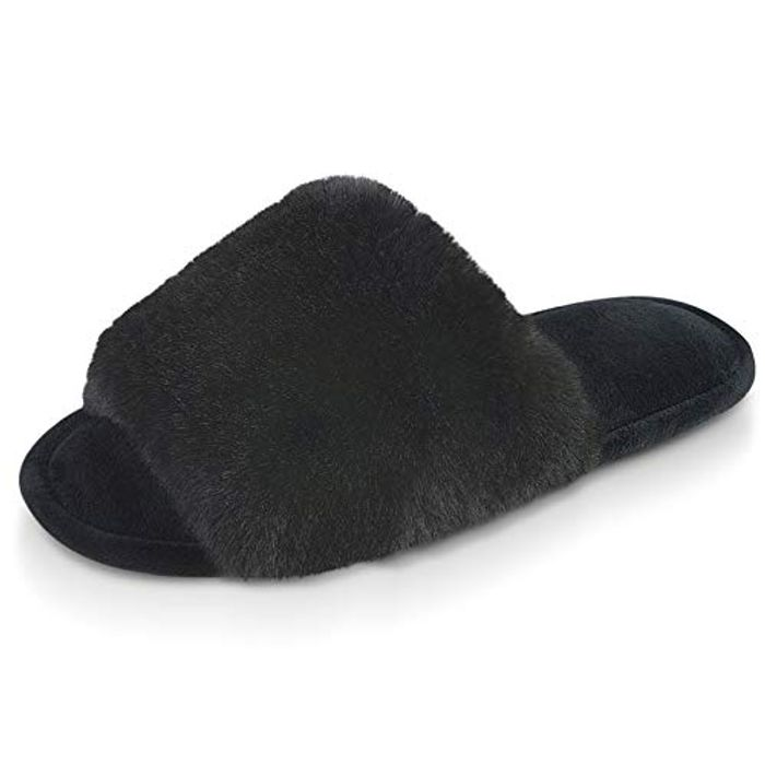 Fluffy Ladies Slippers Open Toe - Only £3.85!