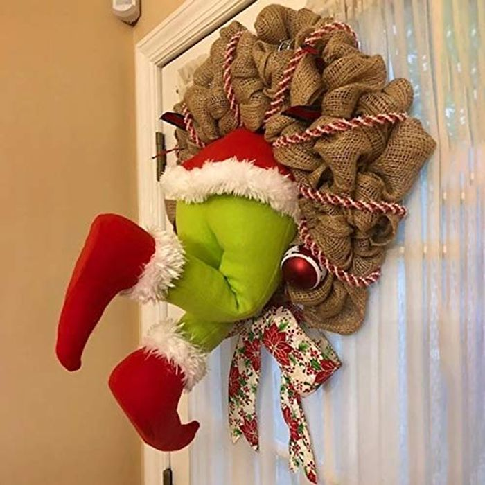 50% off Christmas Grinch Burlap Wreath for Living Room, Indoor Decoration