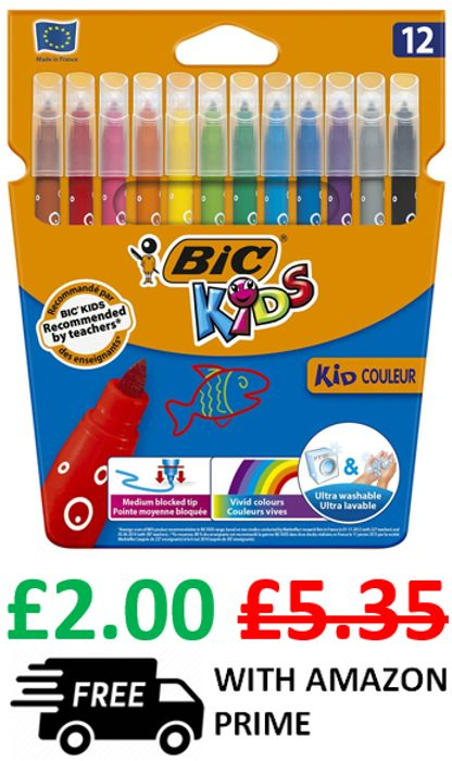 AMAZON BESTSELLER - 12 BIC Kids Felt Tips ***4.7 STARS***