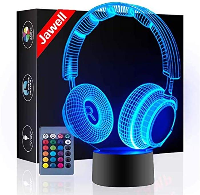 Headphone 3D Illusion Lamp Christmas Gift Night Light beside Table Lamp