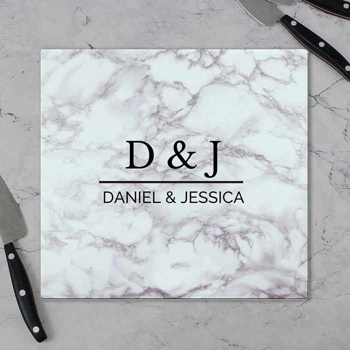 Personalised Marble Effect Glass Chopping Board Home Bargins