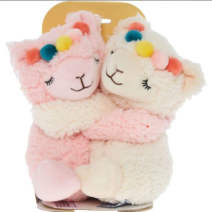 WARMIES Pink & White Hugging Llamas Water Bottle
