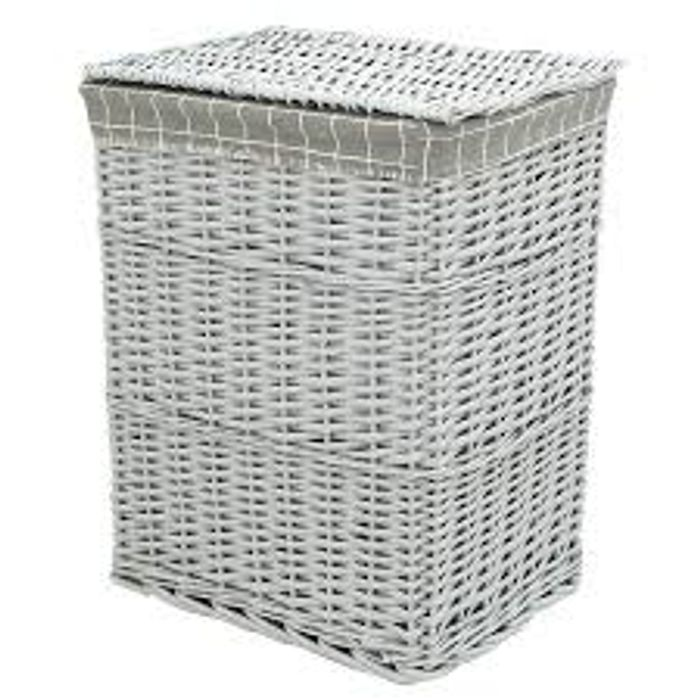 Tall Grey Wicker Laundry Basket with Lid