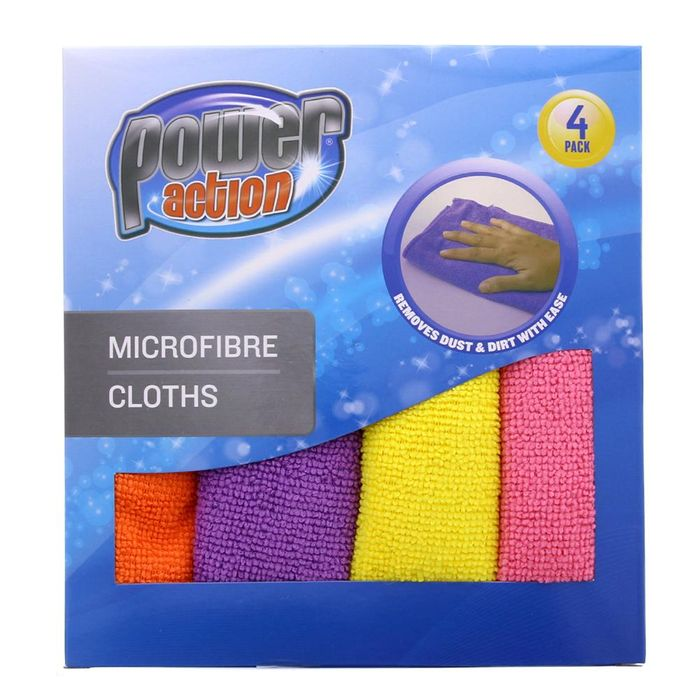 HOMEBASE DEAL! Power Action Micro Fibre Cloths (4 Pack)
