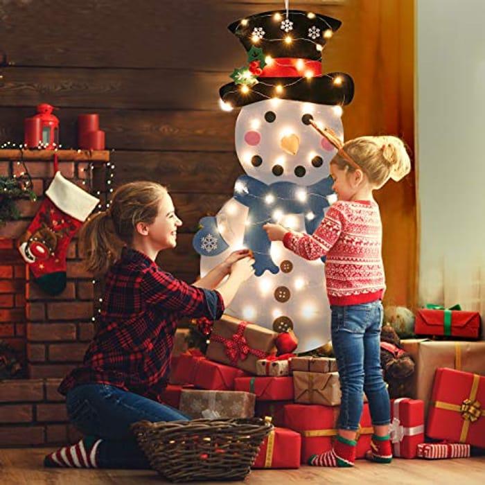 3.28ft Felt Snowman DIY Christmas Tree with 50 LED Lights