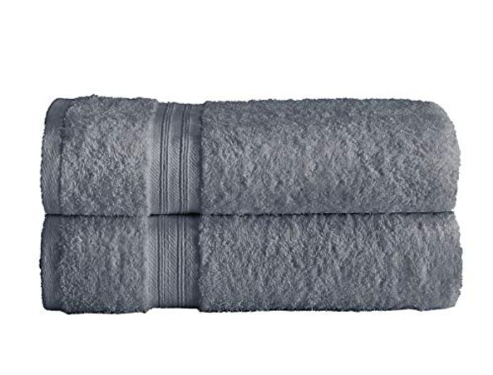 BARGAIN 2 X Bath Towel Set 100% Egyptian Cotton GREY