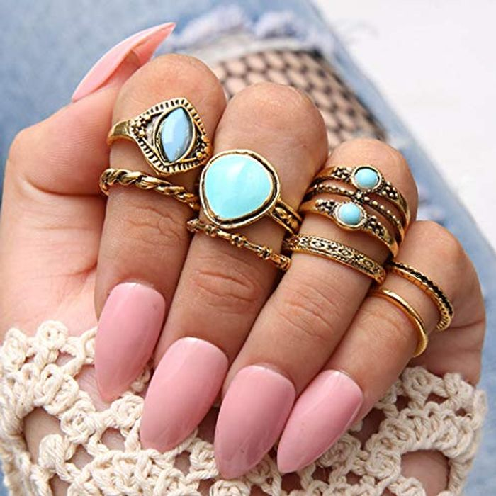 Flrora Vintage Turquoise Joint Knuckle Rings Pack of 8