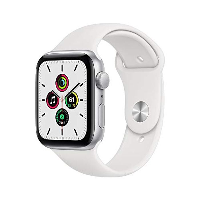 New Apple Watch SE (GPS, 44mm) - Silver Aluminium Case with White Sport Band