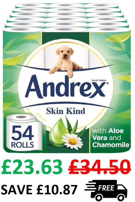 CHEAP ANDREX TOILET ROLL! 54 Andrex Skin Kind Toilet Rolls with ALOE VERA