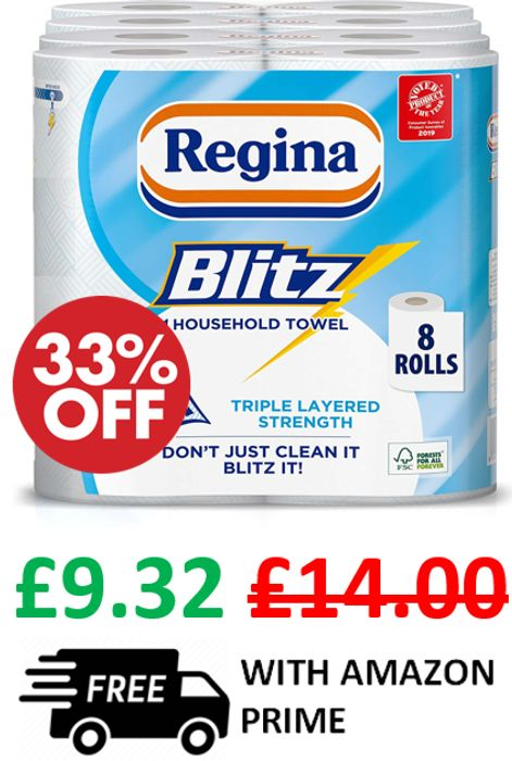 Best Price! Regina Blitz Kitchen Towel, 8 Rolls X 70 Sheets ***4.8 STARS***