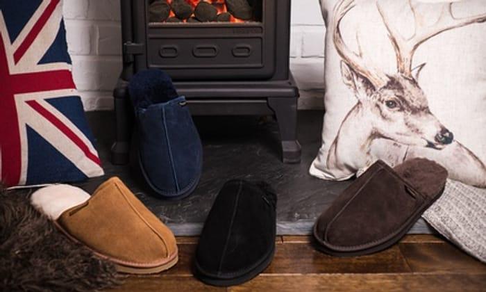 Redfoot Men's Suede and Australian Sheepskin Slippers