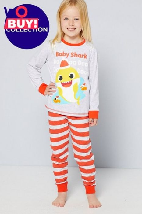 Kids Family Baby Shark Red Stripe Christmas Pyjamas - Only £7!