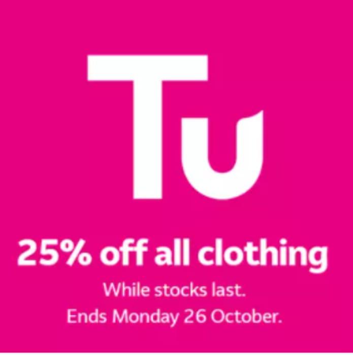 TU Clothing - 25% Off Everything Inc Halloween Costumes + Free C&C At Argos