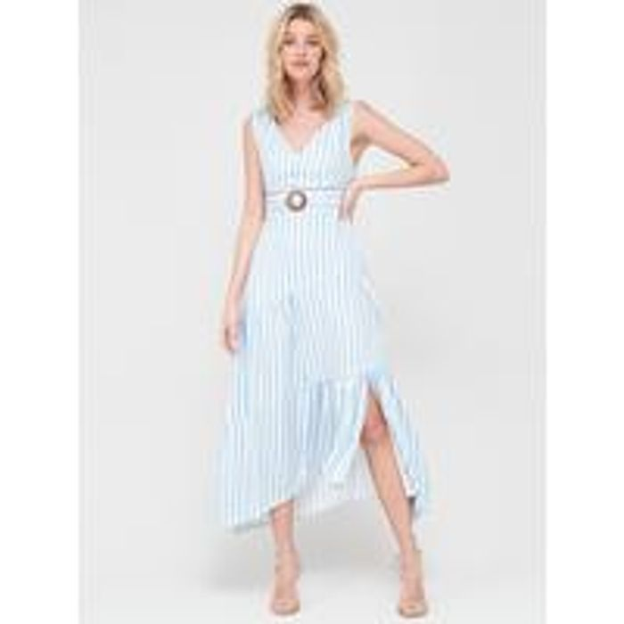 V-Neck Cotton Maxi Dress-Stripe