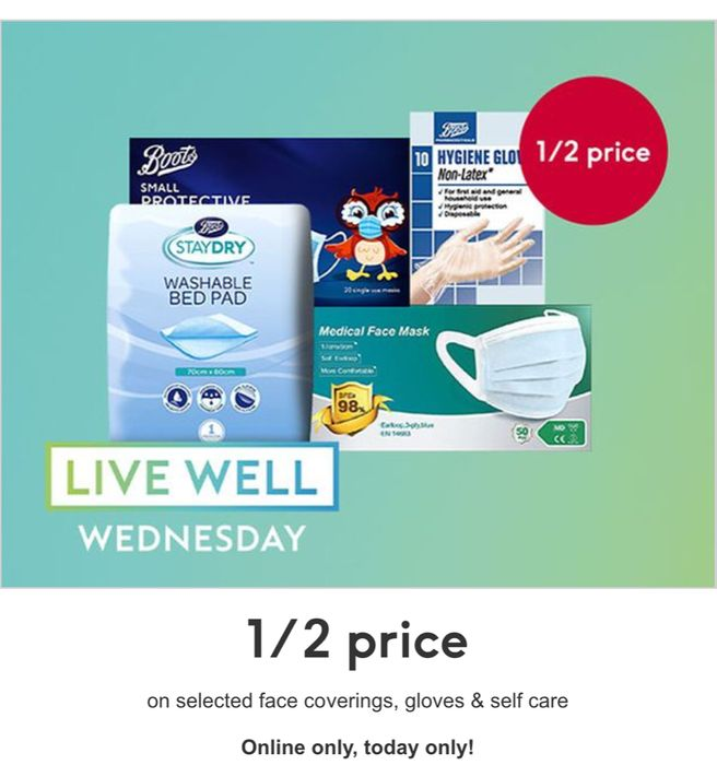 Live Well Wednesday - 1/2 Price on Selected Face Coverings, Gloves &Self Care