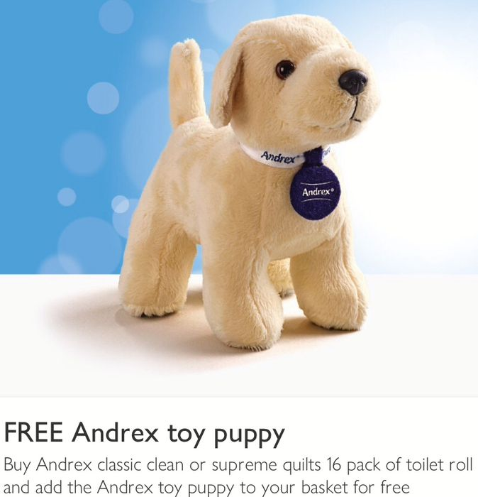 Free Toy Puppy with Andrex Classic Clean or Andrex Supreme Quilts 16s