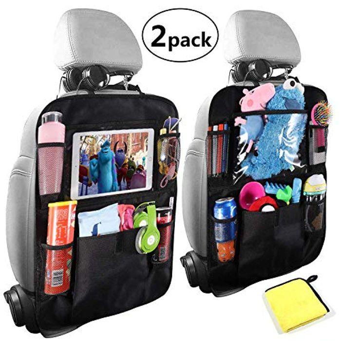 """2-Pack Car Back Seat Organiser with 10"""" iPad Holder for Only £10.39"""
