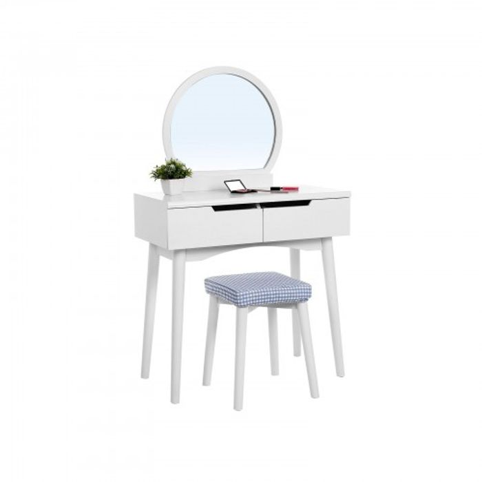 SONGMICS Round Mirror Dressing Table & Stool - £80 Delivered with Code