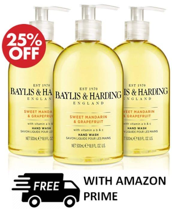 BAYLIS & HARDING - Sweet Mandarin & Grapefruit Handwash, Pack of 3