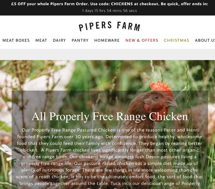 Save £5 on entire order at Pipers Farm