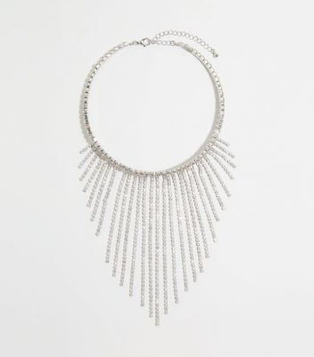 Silver Premium Diamant Tassel Choker Necklace