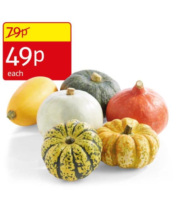 Super 6 - Mixed Squash, Persimmons ,Gala Apple, Flat Mushrooms, Garlic - All 49p