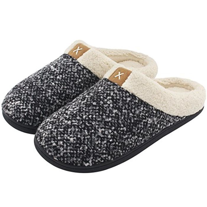 Men's Cozy Memory Foam Slippers with Fuzzy Plush Wool-like Lining