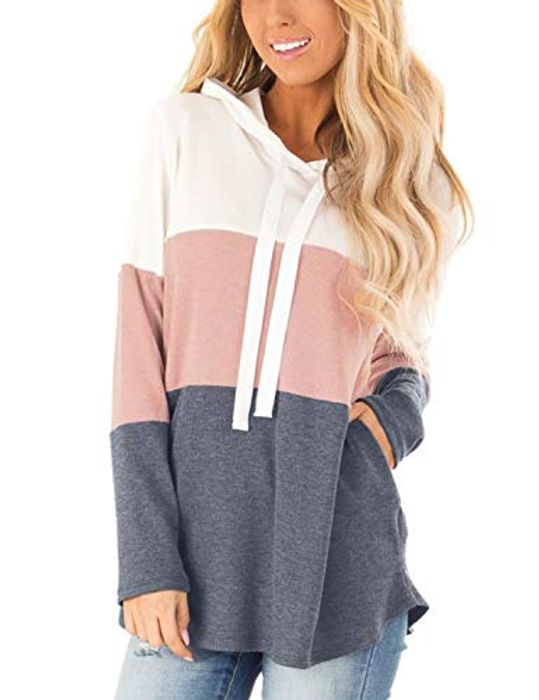 Blooming Jelly Womens Striped Hoodies Color Block Long Sleeve