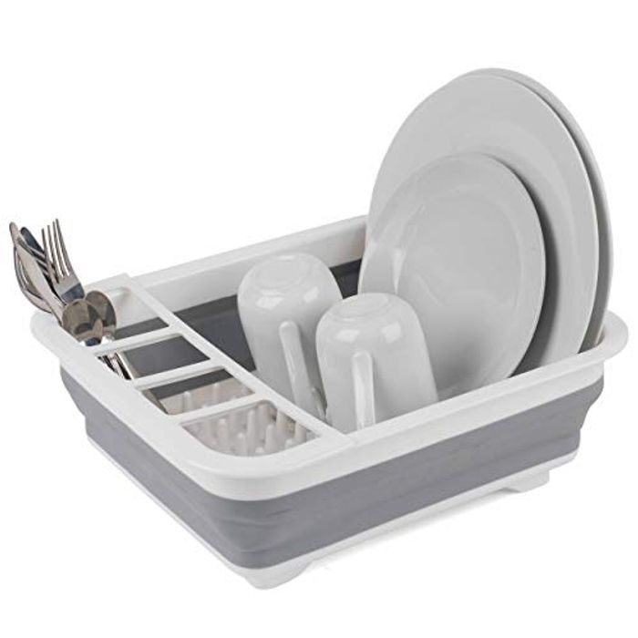 Beldray LA031051 Grey Collapsible Dish Drainer with Cutlery Divider
