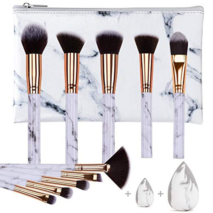 10PCS Professional Marble Makeup Brush Set with Sponge Puff