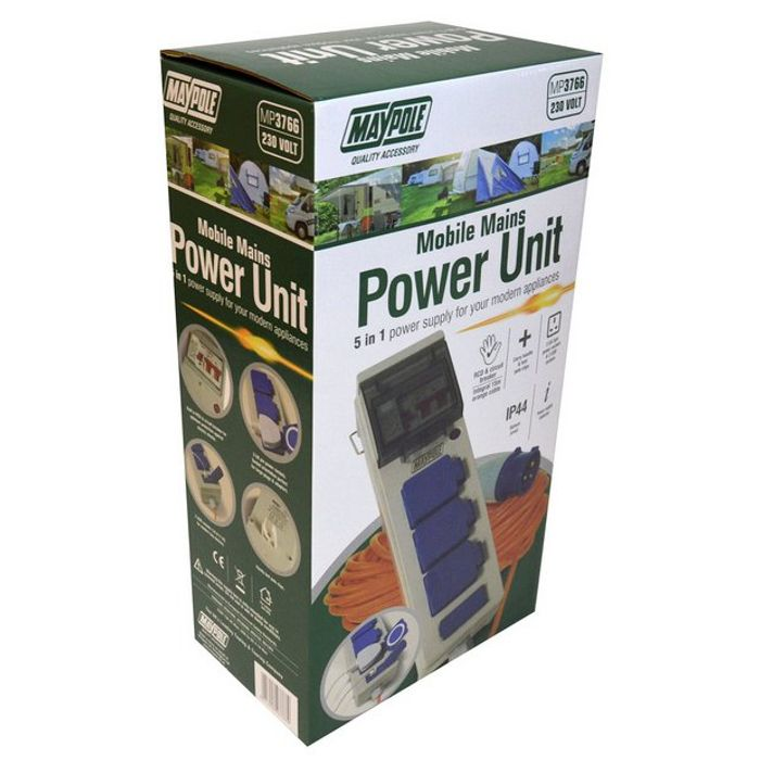 Maypole 230V Mobile Mains Power and Twin USB Unit