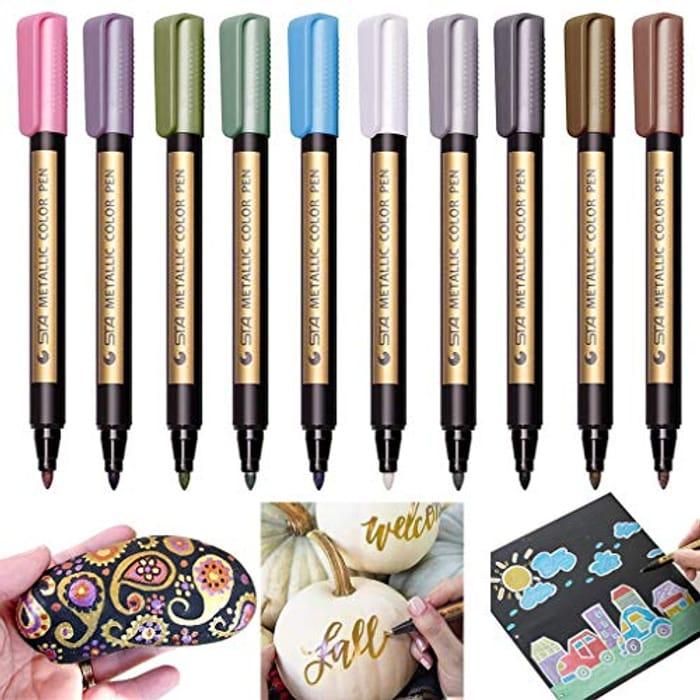 Metallic Marker Pens, Set of 10