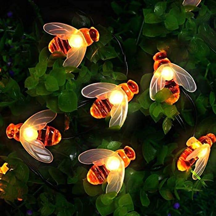 50 LED] Solar Garden Lights, Honey Bee Fairy String Lights