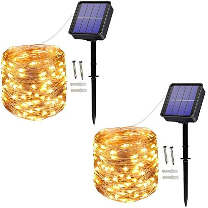 [2 Pack] Solar String Lights, 100 LED 10M/33Ft