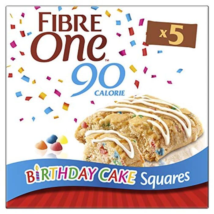 Fibre One 90 Calorie Birthday Cake High Fibre Squares 24g X 5 Pieces