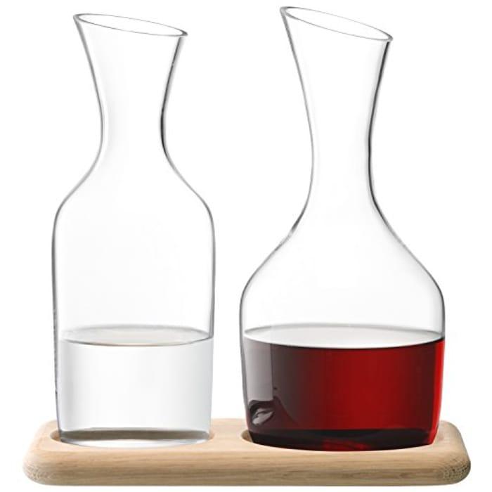 LSA International WI25 Wine Water & Wine Carafe Set & Oak Base 1.2L/1.4L Clear