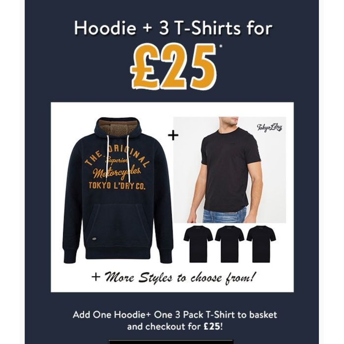 Grab a Hoodie and 3 T-Shirts for £25