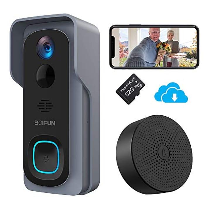 Video Doorbell BOIFUN WiFi Smart Wireless HD 1080P Battery Camera