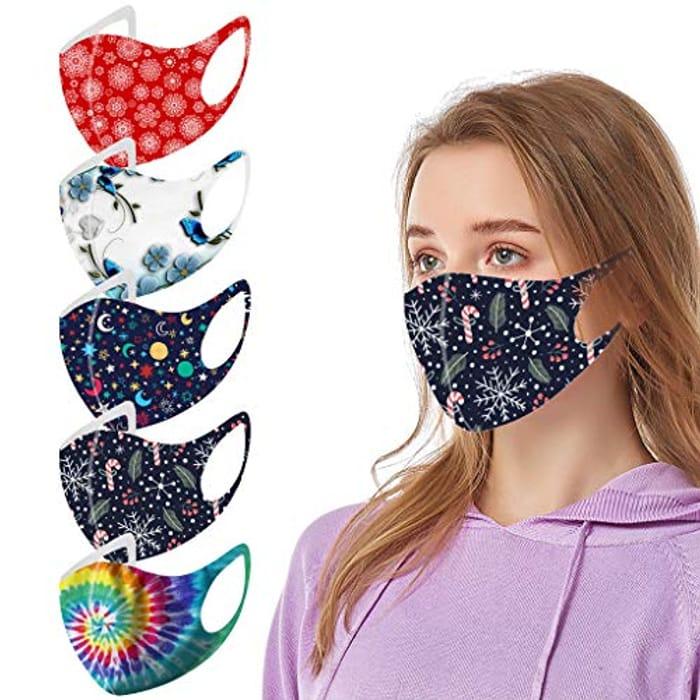 5PC Adult Silk Tie Dye Face Masks