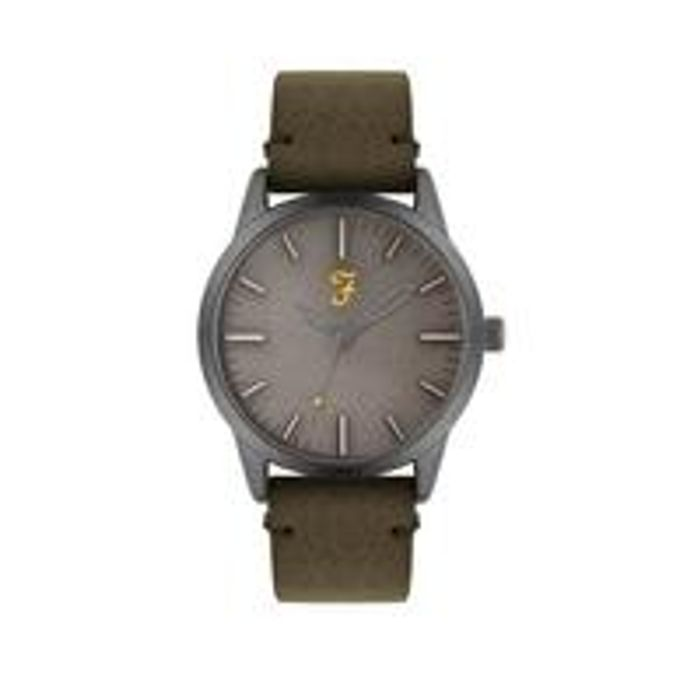 Farah Grey Dial Olive Green Suede Strap Mens Watch