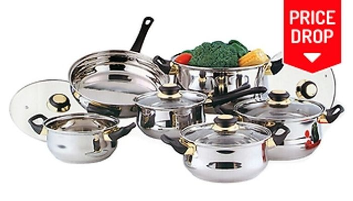 12-Piece Stainless Steel Pot & Pan Set